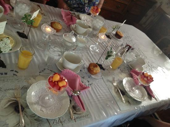 Garden Gate Bed and Breakfast: table set at breakfast :)