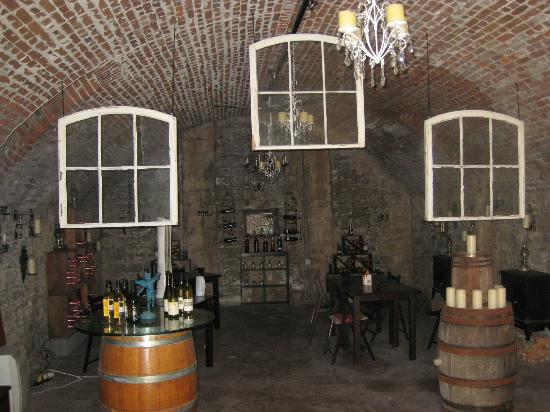 Alpenhorn Gasthaus: In the basement where they do wine tasting