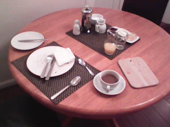 JacMar B&B at 23: Breakfast setting (after eating every bite)