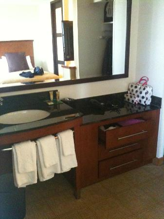 Hyatt Place Cleveland/Independence: sink area across from beds- stool and shower in separate room.