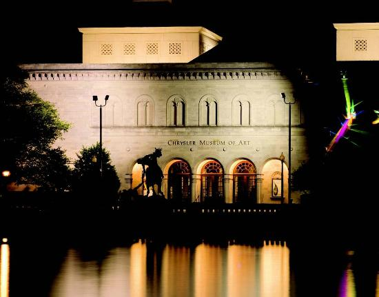 Chrysler Museum of Art at night reflecting on the Hague