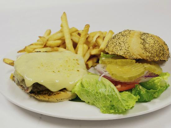 The Old 5 Mile House: The Monster Burger - 1/2 LB blend of fresh ground Kobe beef and Black Angus Chuck.