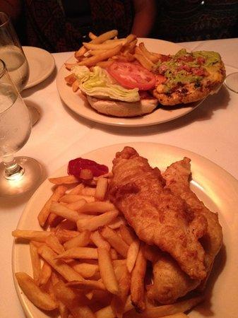 Hurley's Saloon: California ckn burger and fish & chips