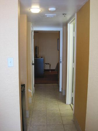 Hallway between sitting area and bedroom