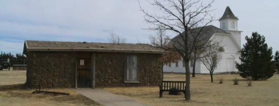 Colby, KS: Old sodhouse and church