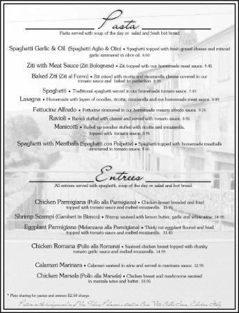 sample menu picture of san vito italian restaurant pizzeria