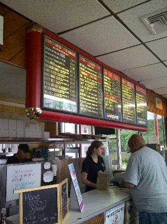 Danny's Drive-In: menu board with service bar