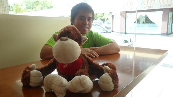 The Crown Borneo Hotel: With my Stuffed Orangutan :D