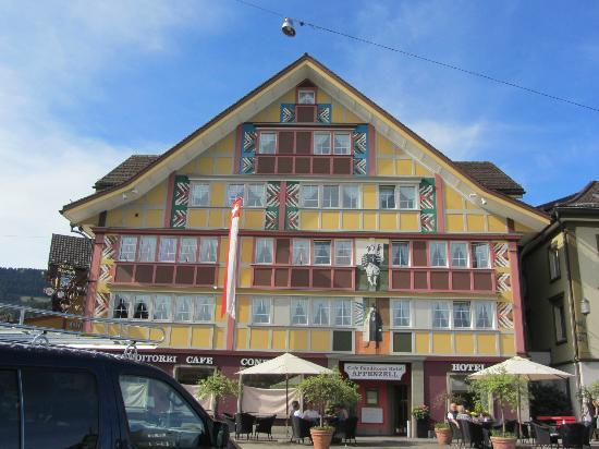 Hotel Appenzell: Front of the hotel. Our room was in the upper left.