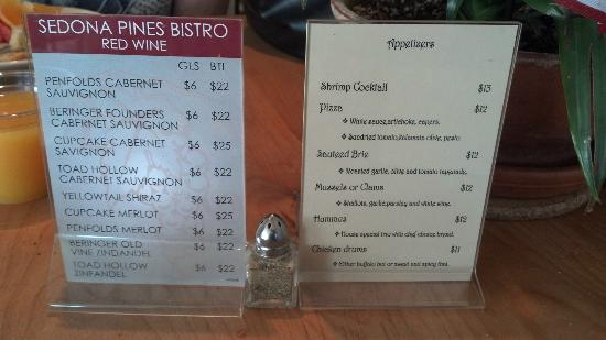 Sedona Pines Resort: Bistro drink menu