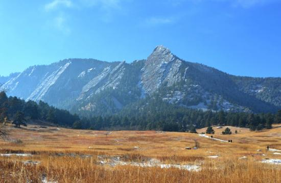 Boulder, CO: View up the trail toward the Flatirons in Chautauqua