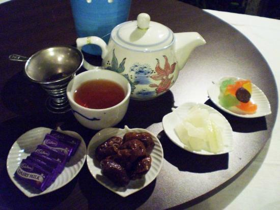 Tiger Rock: After dinner tea & sweets. By the way, the tea is their own blend.