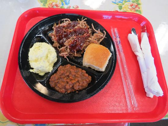 Floyd and Company Real Pit BBQ: Pork Plate with Potato Salad and Baked Beans