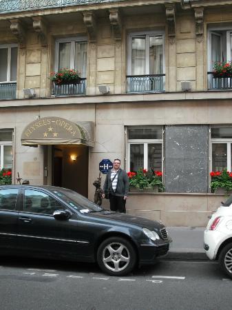 Hotel Elysees Opera: My man outside the hotel