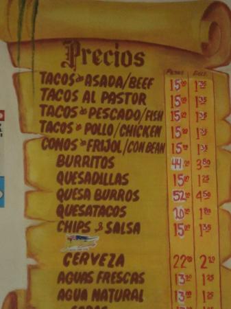 Taqueria Mexico Lindo: Prices