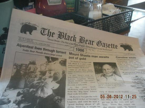 Black Bear Diner - Mt. Shasta : the Menu