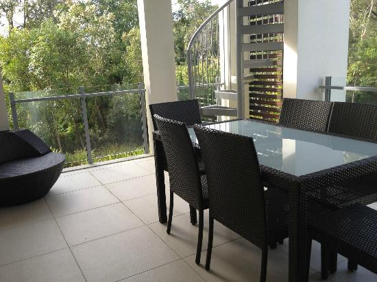 RACV Noosa Resort: Outdoor terrace - too cold in May to sit out there