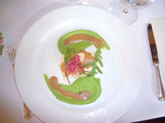 Hotel de la Verniaz et ses Chalets : Entrante de la cena-Saint Jacques-Muy bueno!