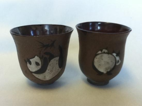 Torpedo Factory Art Center: Tea bowls handpainted with pandas at Scope Gallery studio 19 by Tracie Griffith Tso of Reston, V