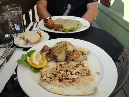 Mozart's Steakhouse: Trout with almonds, and Jagerschnitzel with potato puffs