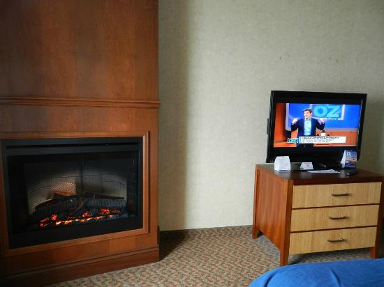 Holiday Inn Express Hotel & Suites Brampton: fireplace and flatscreen tv