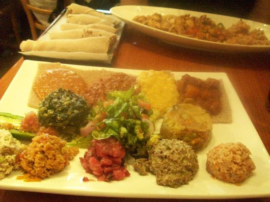 desta ethiopian kitchen veggie platter chicken tibs and injera - Desta Ethiopian Kitchen
