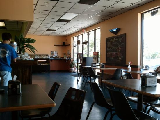 Inside Bravo Tacos.  Kinda plain, but the food makes up for it!