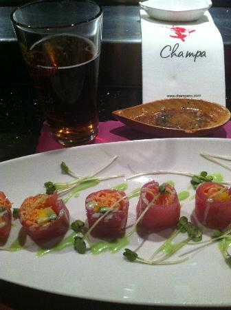 "Champa: The ""Angel Roll"" mango, avocado and crab wrapped in delicious red tuna"