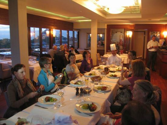 Afiyet Olsun Istanbul-  Cooking Workshop : Nice ambiance with the beautiful view of Santa Sophia on the background..