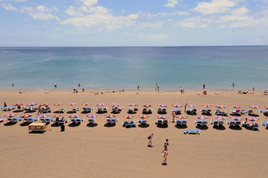 Club del Carmen: Sunbeds on the beach at Playa Del Carmen, Lanzarote