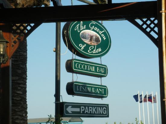 The Garden of Eden Restaurant: The Garden of Eden sign
