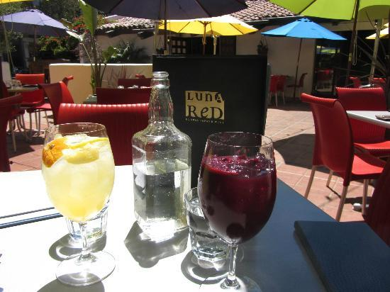 Luna Red: A white sangria, a red sangria and water out of a Jack Daniels bottle. Perfect way to start lunc