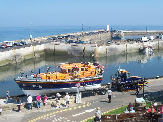 The Bamburgh Castle Inn: Life boat Launch seen from hotel balcony.