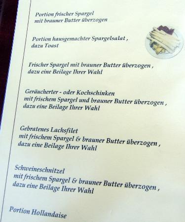Müller's Hotel & Restaurant: Auszug aus der Speisekarte