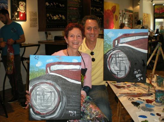 Canvas and Cocktails: Not a Rembrandt, but a good souvenir of a fun event with my son, Joshua