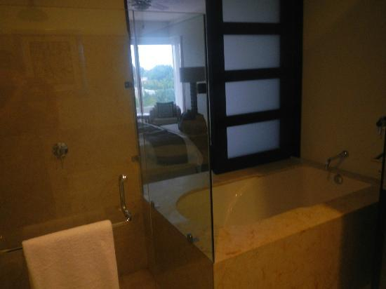 Marival Residences Luxury Resort: View from the master bathroom into the Master bedroom.....yes that door shuts for privacy