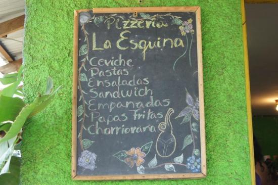 Casa Esquina Isla de Pascua: Le menu du jour