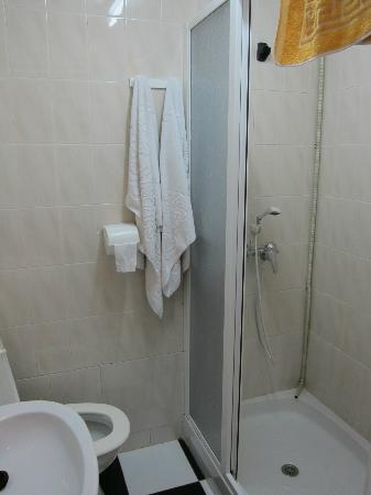 Pension San Benito Abad: Bathroom and shower area, a little leaky but not serious