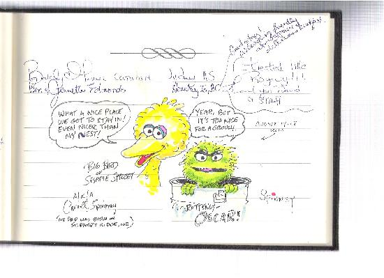 Blair House Heritage Breakfast Inn: Carroll Spinney's Big Bird & Oscar the Grouch sketches in guest book