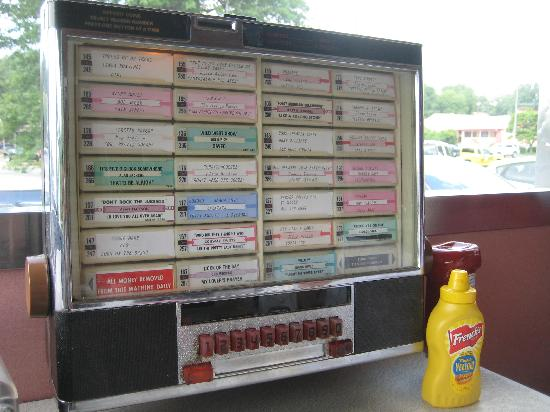Juke box with a selection of old tunes at the Frost Diner