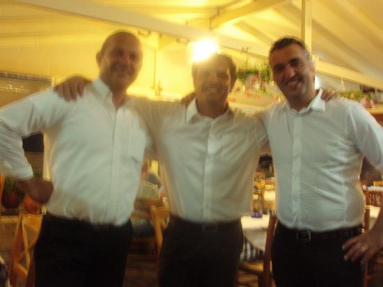 Restaurant Bacchos: Spiros (Steven Segal) Dimitri (Antonio Banderos) & Lefteris (George Clooney) as we nicknamed the