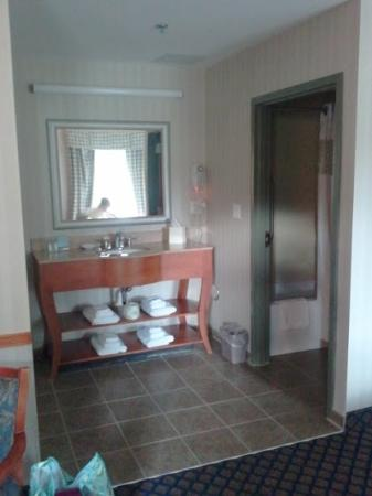 Jamestown, NY: Vanity/Bathroom area - tiled, clean, nice.