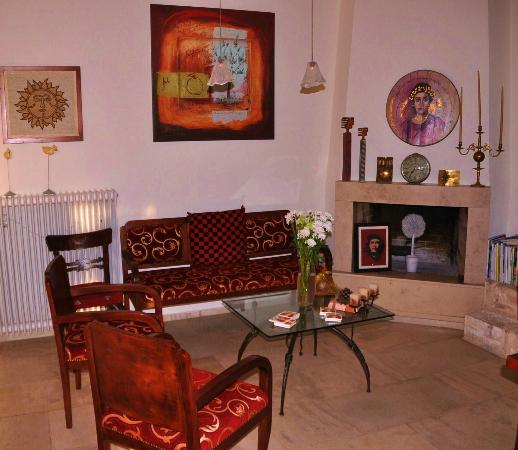 Villa Kerasia: sitting area-Babis had many beautiful objects in his villa, but his warmth was what made it spec