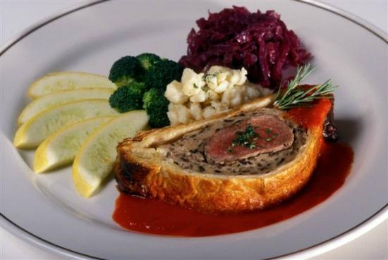 Pork Tenderloin Wellington with spätzle, red cabbage and