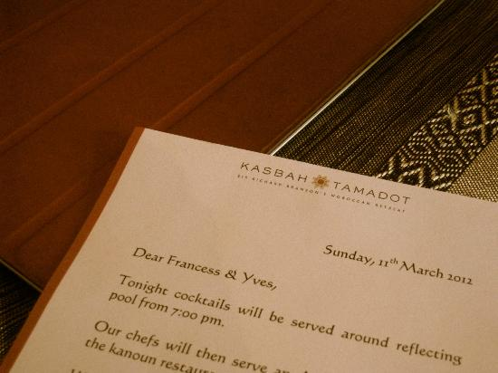 Kasbah Tamadot: Personal Touch: Cocktail Invitation