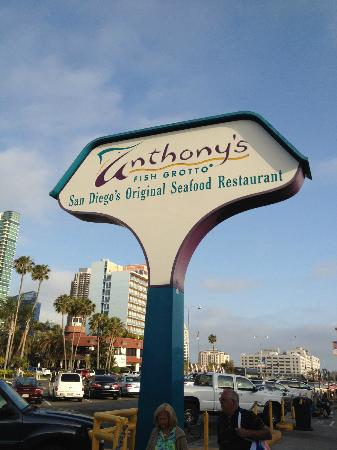 Anthony 39 s sign out front picture of anthony 39 s fish for Anthony s fish grotto san diego