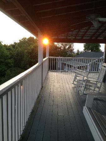 Hippensteal's Mountain View Inn: Sunset, from the porch outside a second floor room