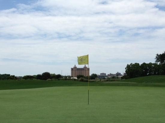 The Club at Savannah Harbor: The 17,000 square foot green with the Westin hotel in the background
