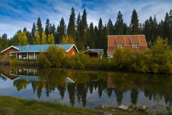 Back of St. Bernard Lodge with pond