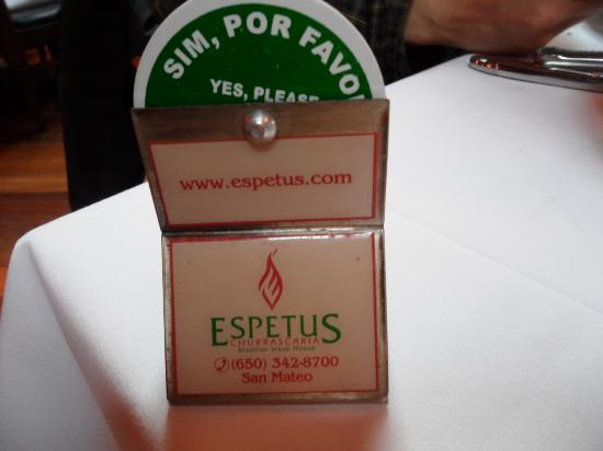 Espetus Churrascaria : Permission wheel for servers to come or let you eat